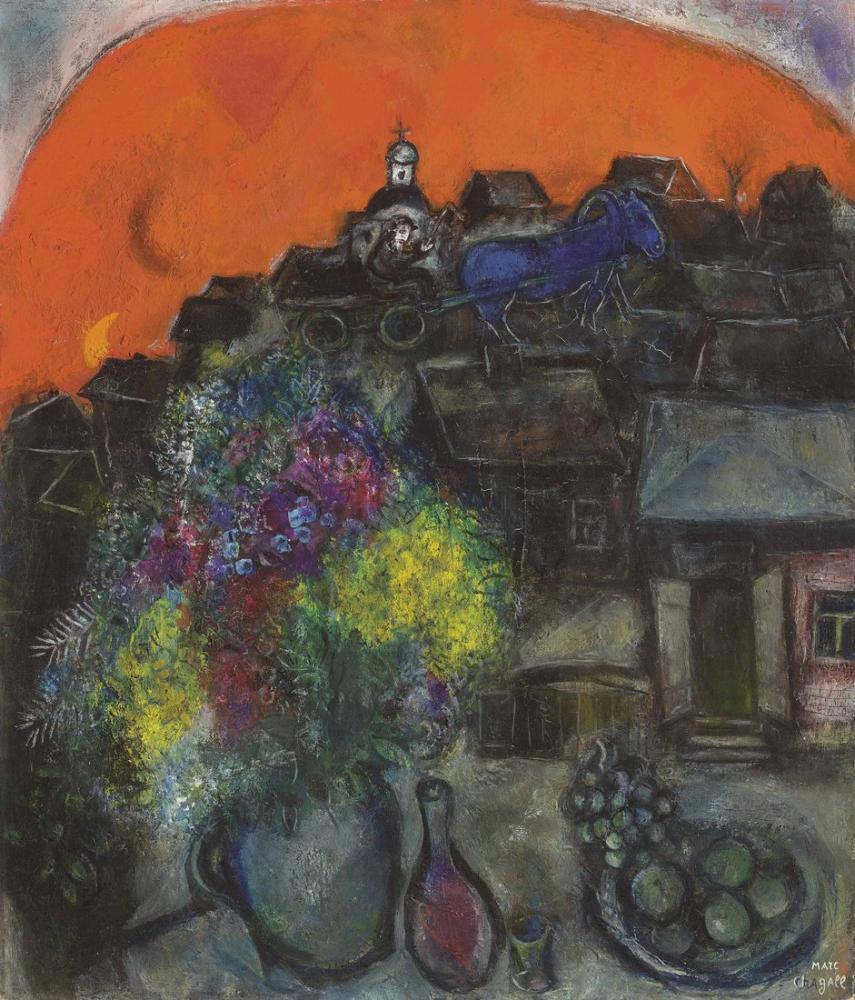 Marc Chagall Kızıl Gökyüzünde Kara Köy, Figür, Marc Chagall, kanvas tablo, canvas print sales
