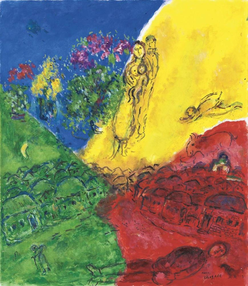 Marc Chagall Dört Renkli Köy Sahnesi, Figür, Marc Chagall, kanvas tablo, canvas print sales