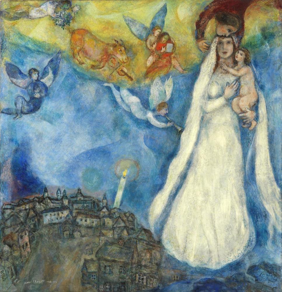 Marc Chagall Bakire Köyü, Figür, Marc Chagall, kanvas tablo, canvas print sales