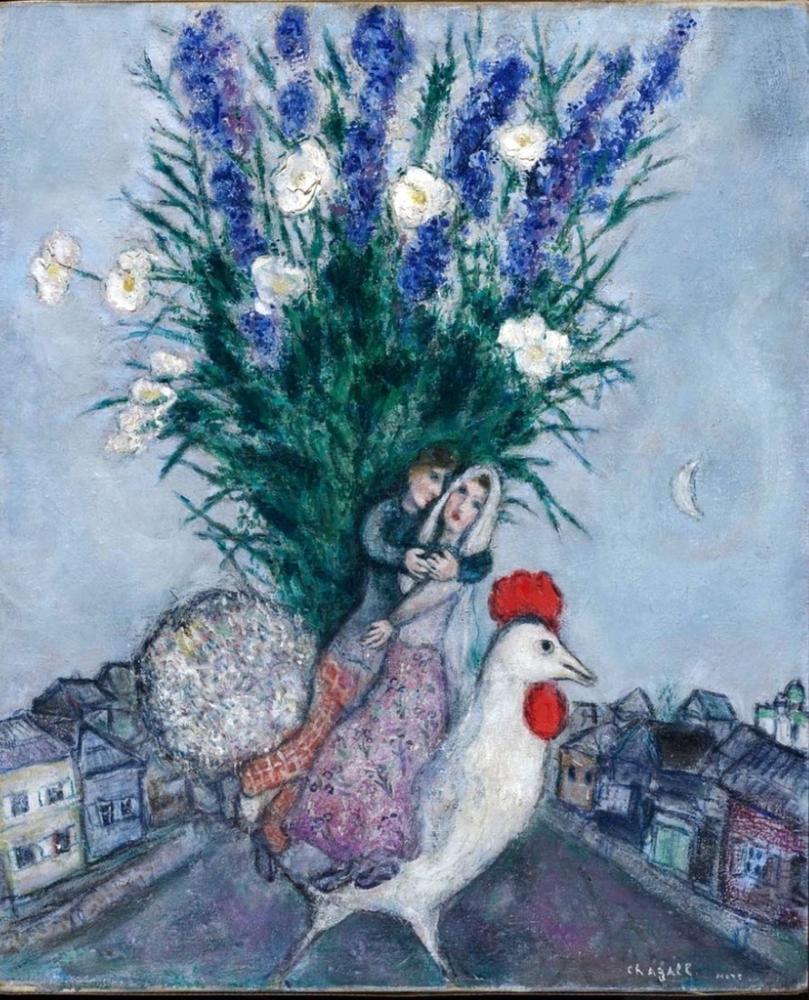 Marc Chagall Bir Köy Sokağında Düğün, Figür, Marc Chagall, kanvas tablo, canvas print sales