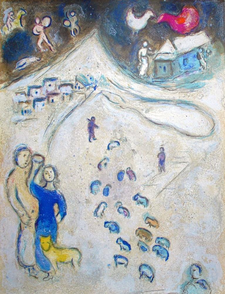 Marc Chagall Kış, Figür, Marc Chagall, kanvas tablo, canvas print sales