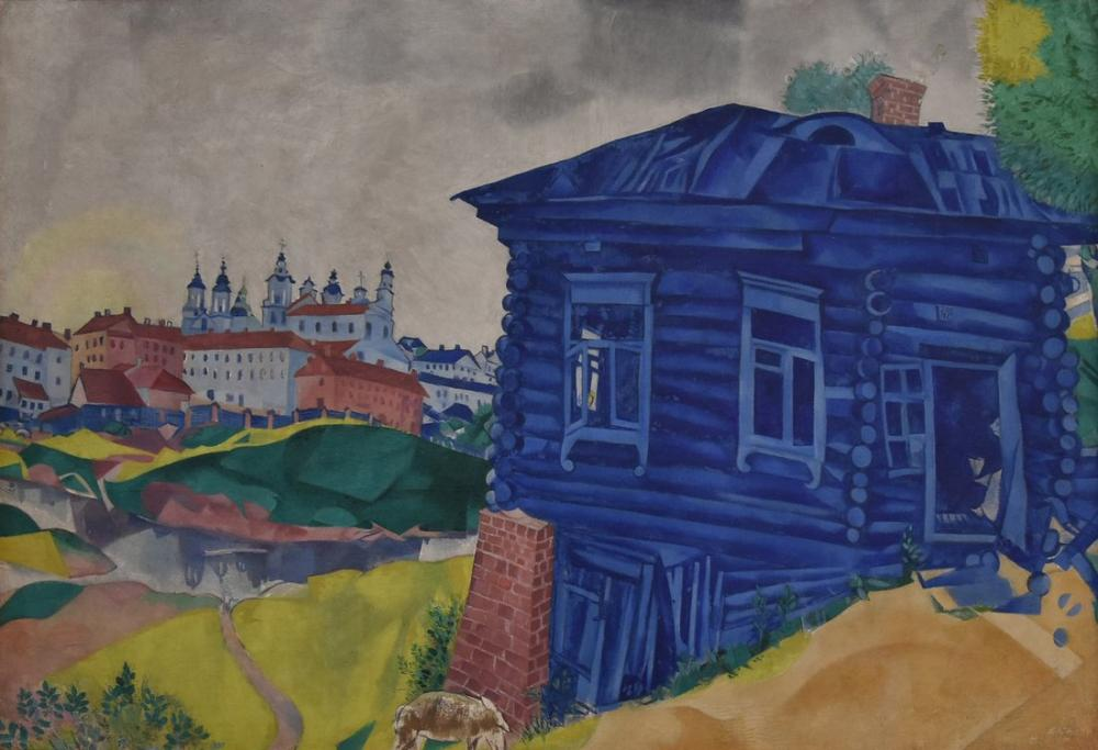 Marc Chagall Blue House, Figure, Marc Chagall, kanvas tablo, canvas print sales