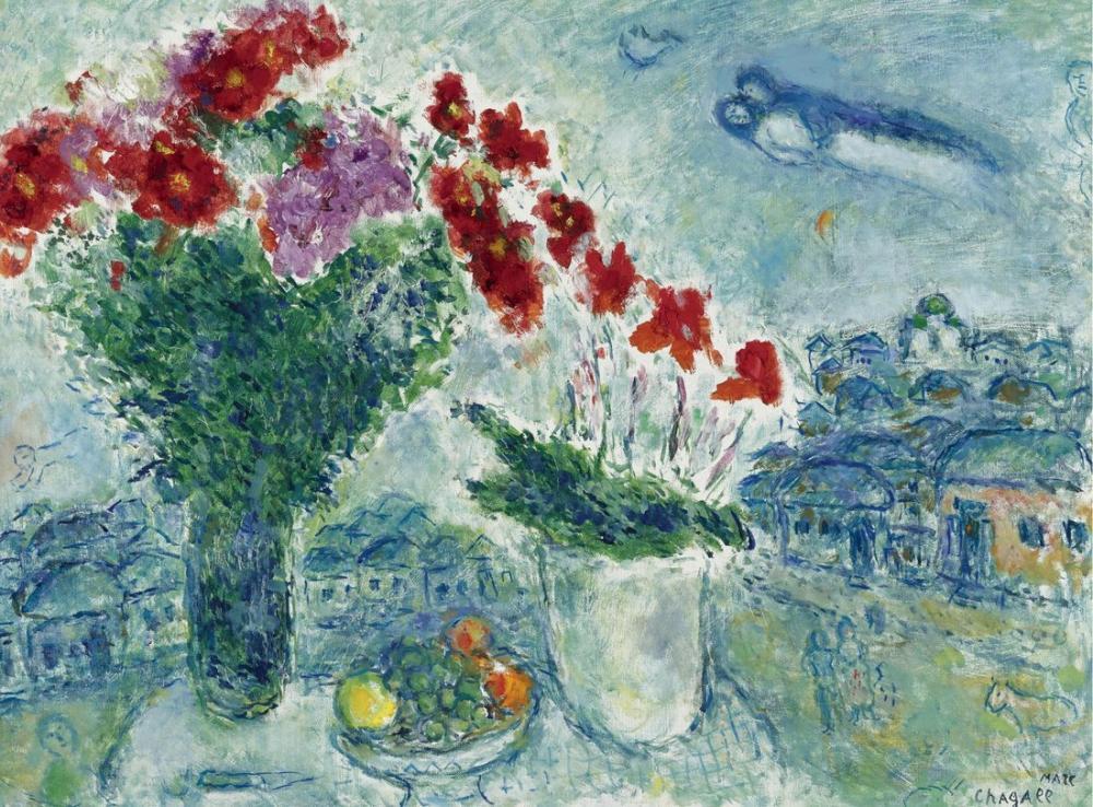 Marc Chagall İkiside Meyve Buketi, Figür, Marc Chagall, kanvas tablo, canvas print sales