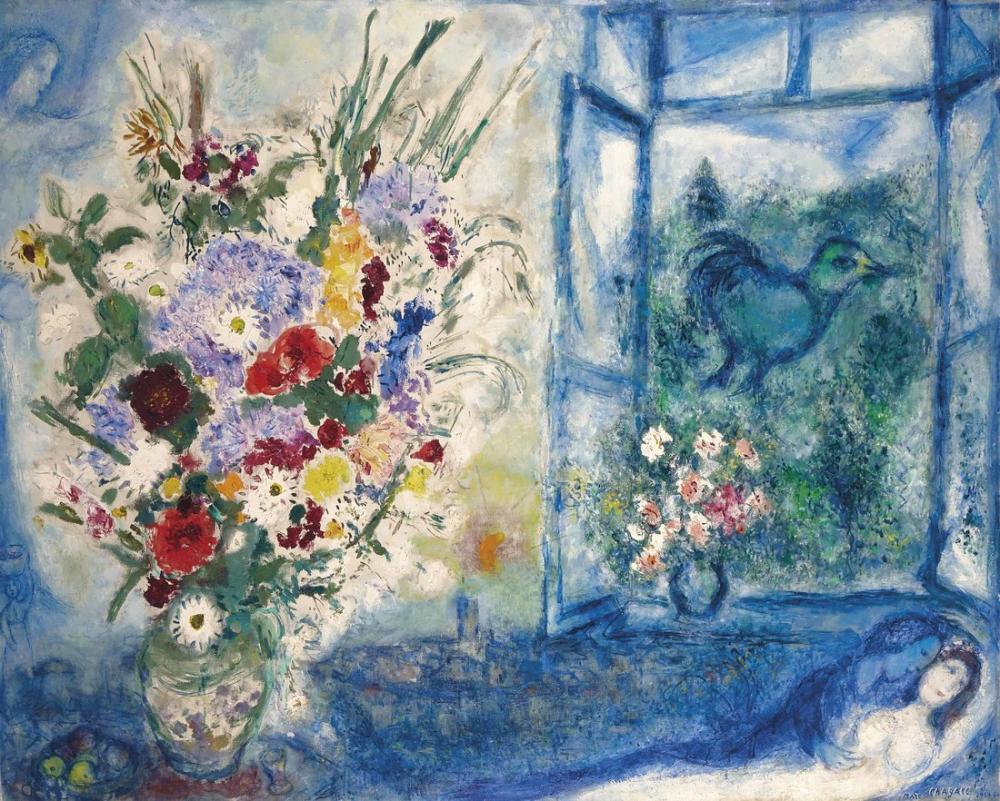 Marc Chagall Pencereye Yakın Buket, Figür, Marc Chagall, kanvas tablo, canvas print sales