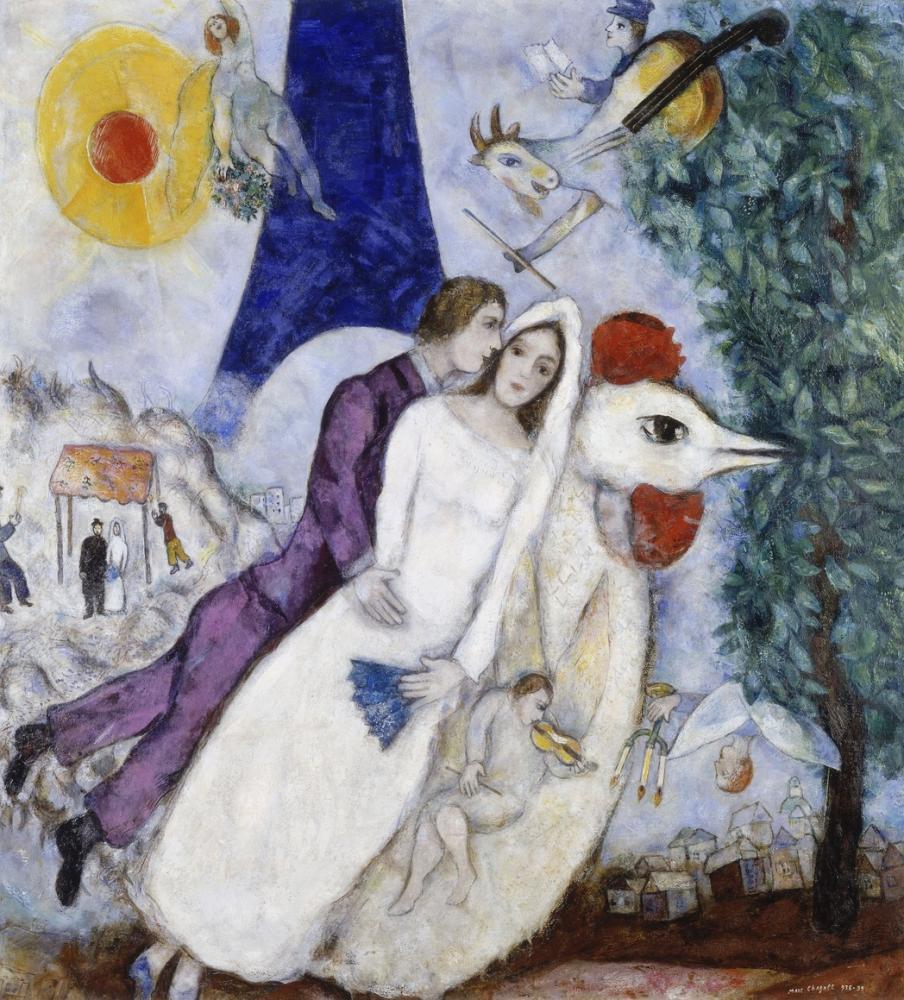Marc Chagall Bride And Groom, Figure, Marc Chagall, kanvas tablo, canvas print sales