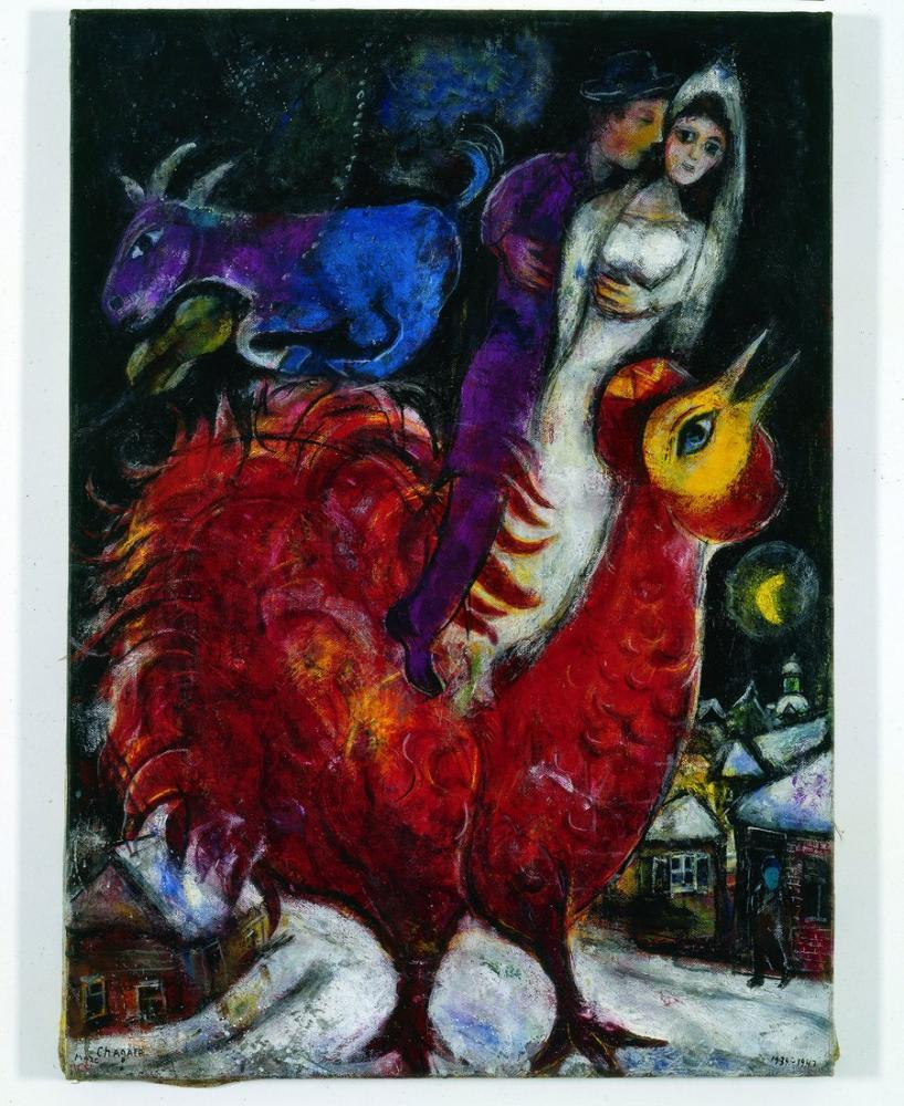 Marc Chagall Horoz Gelin Ve Damat, Figür, Marc Chagall, kanvas tablo, canvas print sales