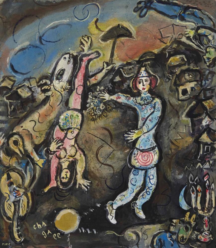 Marc Chagall Siyah Bir Zemin Üzerine Sirk, Figür, Marc Chagall, kanvas tablo, canvas print sales