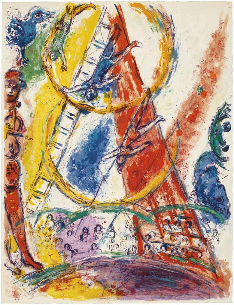 Marc Chagall Sirk Teriade Editörü Paris II, Figür, Marc Chagall, kanvas tablo, canvas print sales