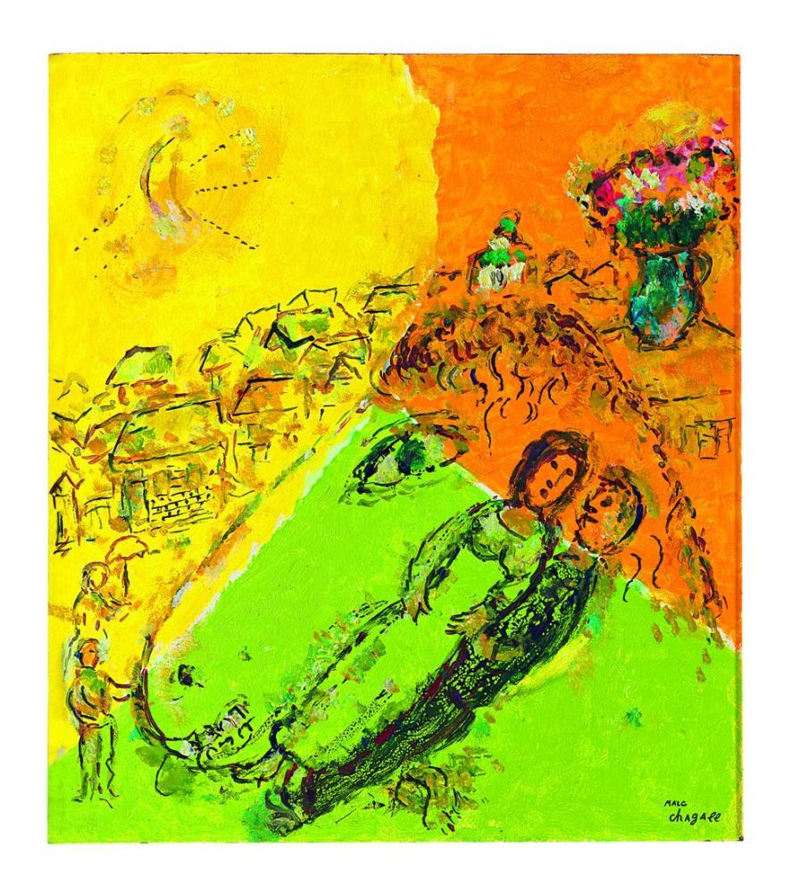 Marc Chagall Dane Profilinde Çift, Figür, Marc Chagall, kanvas tablo, canvas print sales