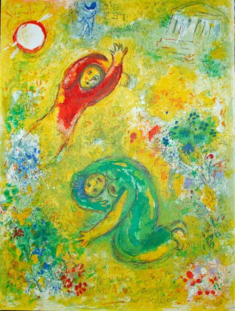 Marc Chagall Daphnis Ve Chloe II, Figür, Marc Chagall, kanvas tablo, canvas print sales