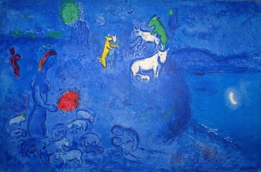 Marc Chagall Daphnis ve Chloe III, Figür, Marc Chagall, kanvas tablo, canvas print sales