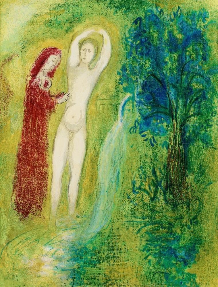 Marc Chagall Daphnis ve Chloe Çeşmenin Yanında, Figür, Marc Chagall, kanvas tablo, canvas print sales