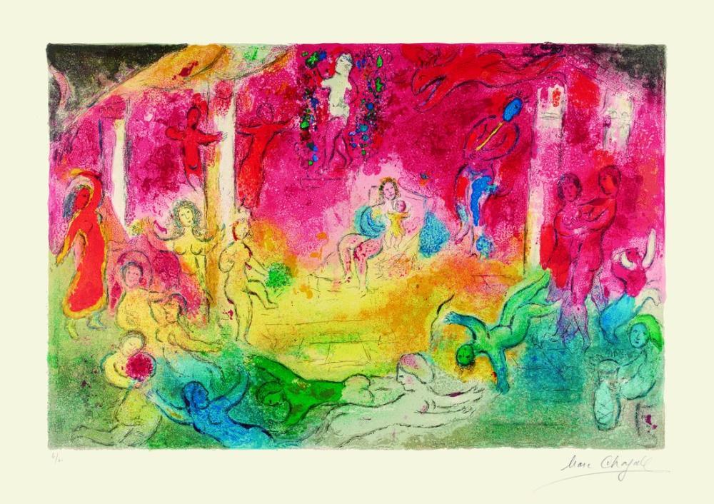 Marc Chagall Daphnis ve Chloe IV, Figür, Marc Chagall, kanvas tablo, canvas print sales