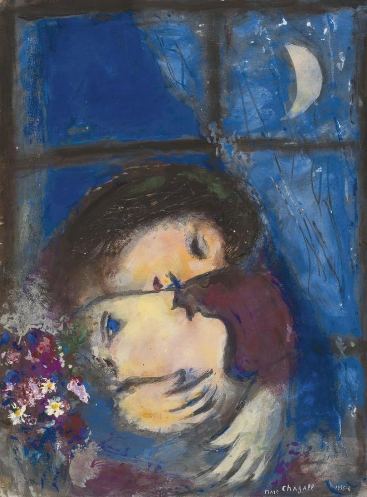Marc Chagall Pencerede İki Kafa, Figür, Marc Chagall, kanvas tablo, canvas print sales