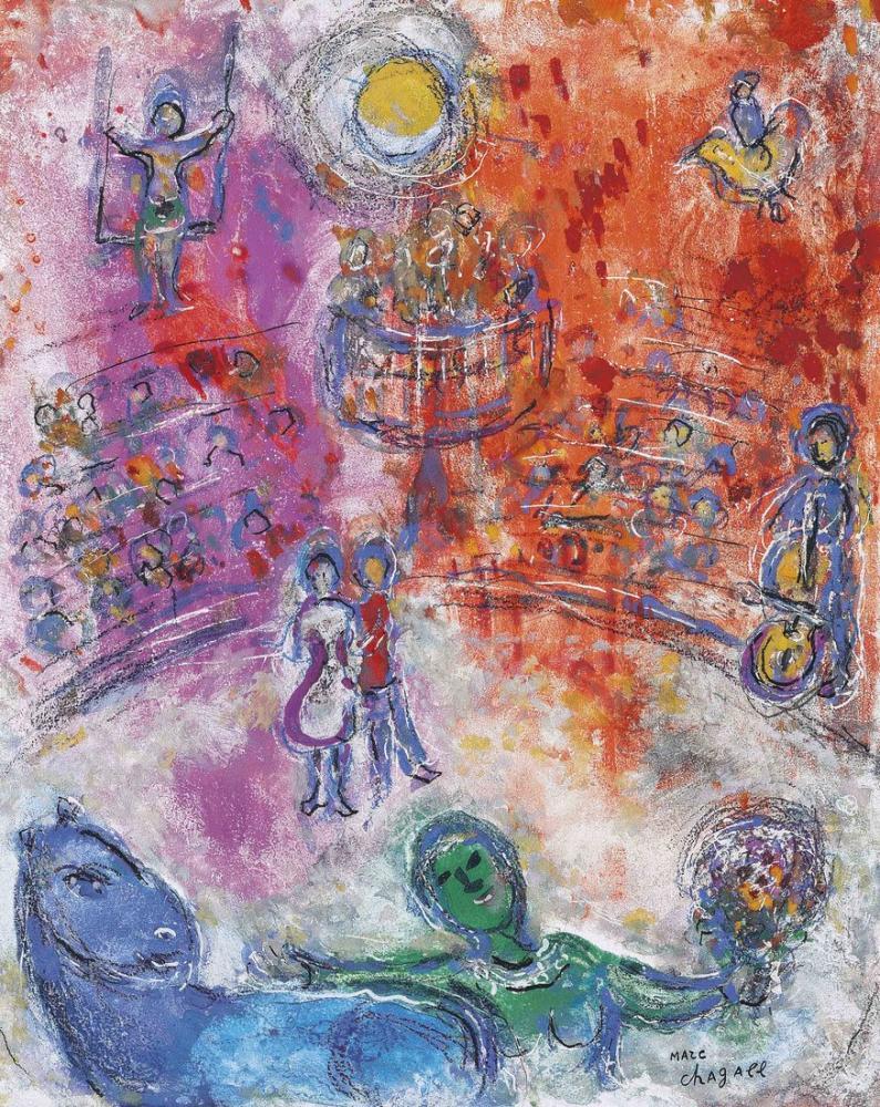 Marc Chagall Güneşli Sirkte Binici, Figür, Marc Chagall, kanvas tablo, canvas print sales
