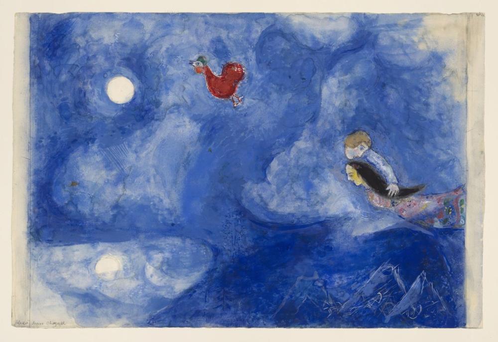 Marc Chagal Aleko And Zemphira By Moonlight, Figure, Marc Chagall, kanvas tablo, canvas print sales