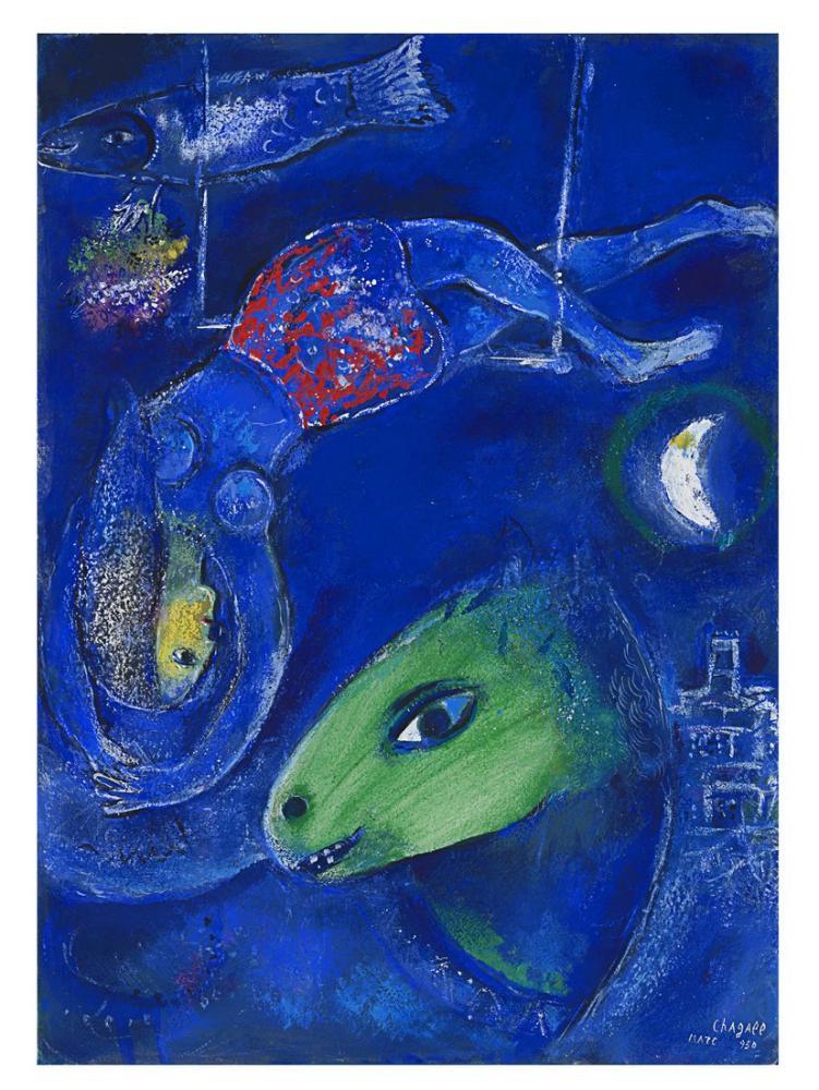 Marc Chagall Etude Pour Le cirque Bleu Ou Acrobate A Lane Vert, Figure, Marc Chagall, kanvas tablo, canvas print sales