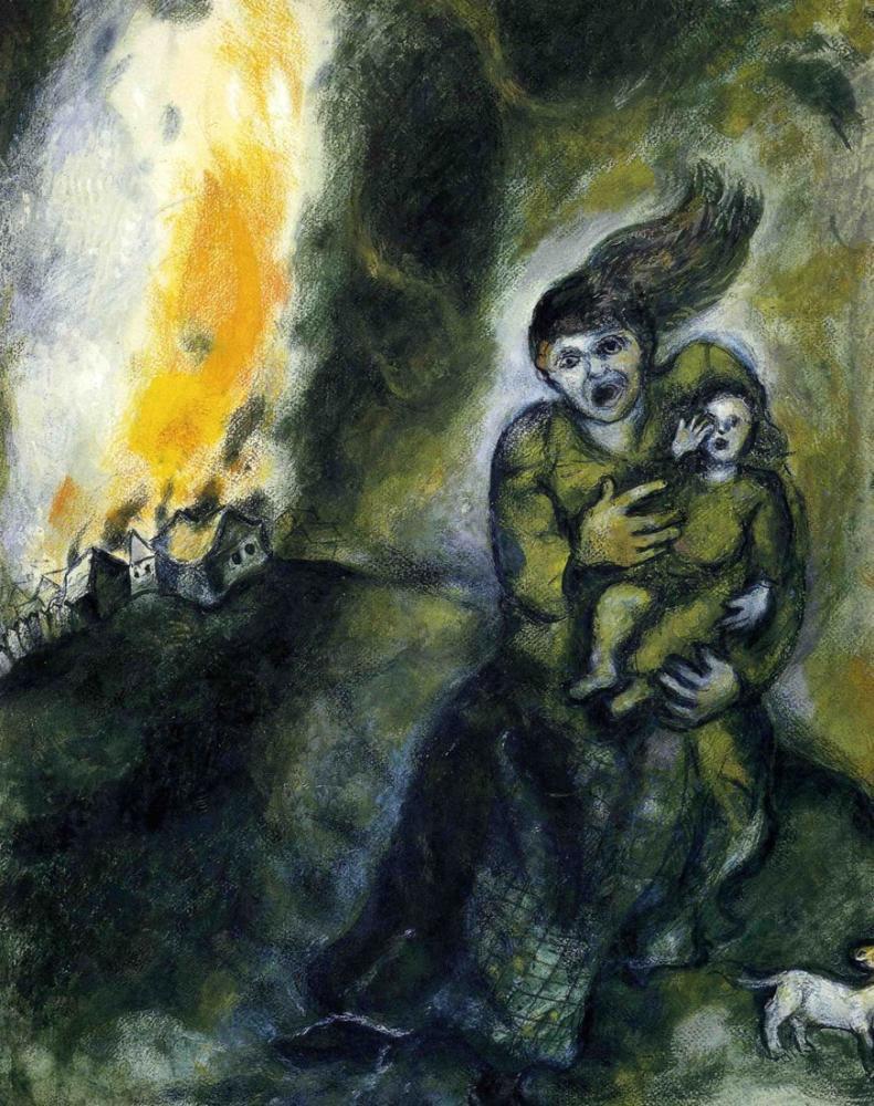 Marc Chagall Karda Ateş, Figür, Marc Chagall, kanvas tablo, canvas print sales