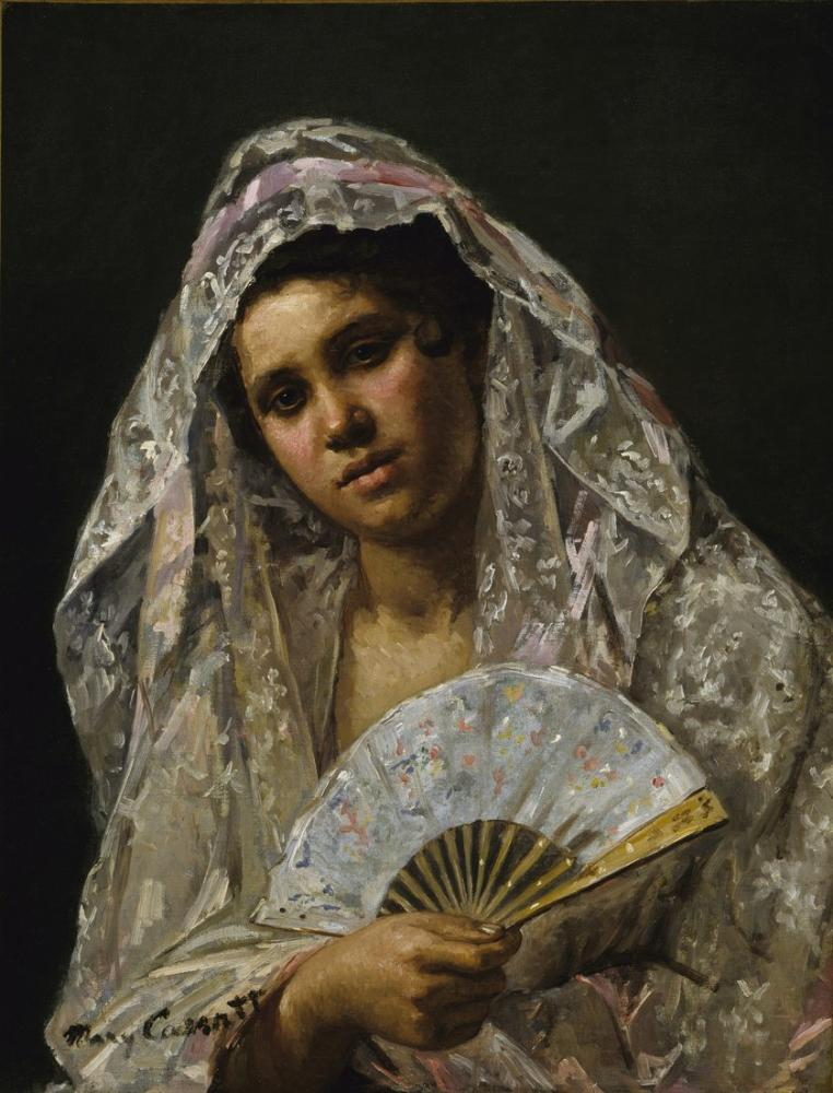Mary Cassatt, Dantel Mantilla Giyen İspanyol Dansçı, Kanvas Tablo, Mary Cassatt, kanvas tablo, canvas print sales