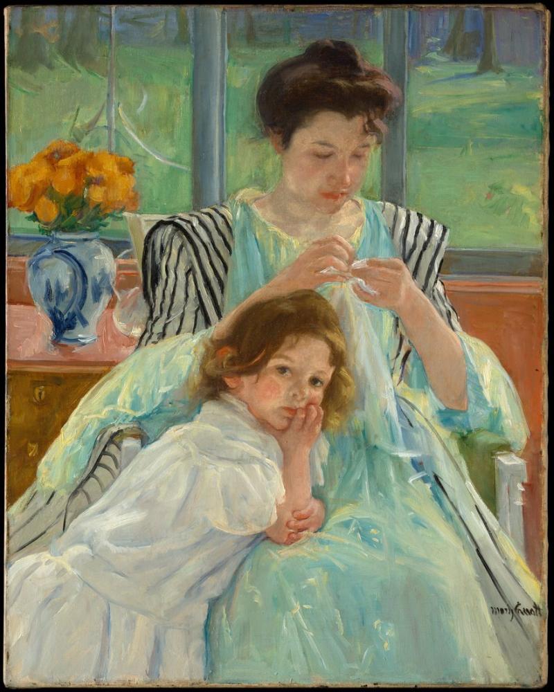Mary Cassatt, Genç Anne Dikiş, Kanvas Tablo, Mary Cassatt, kanvas tablo, canvas print sales
