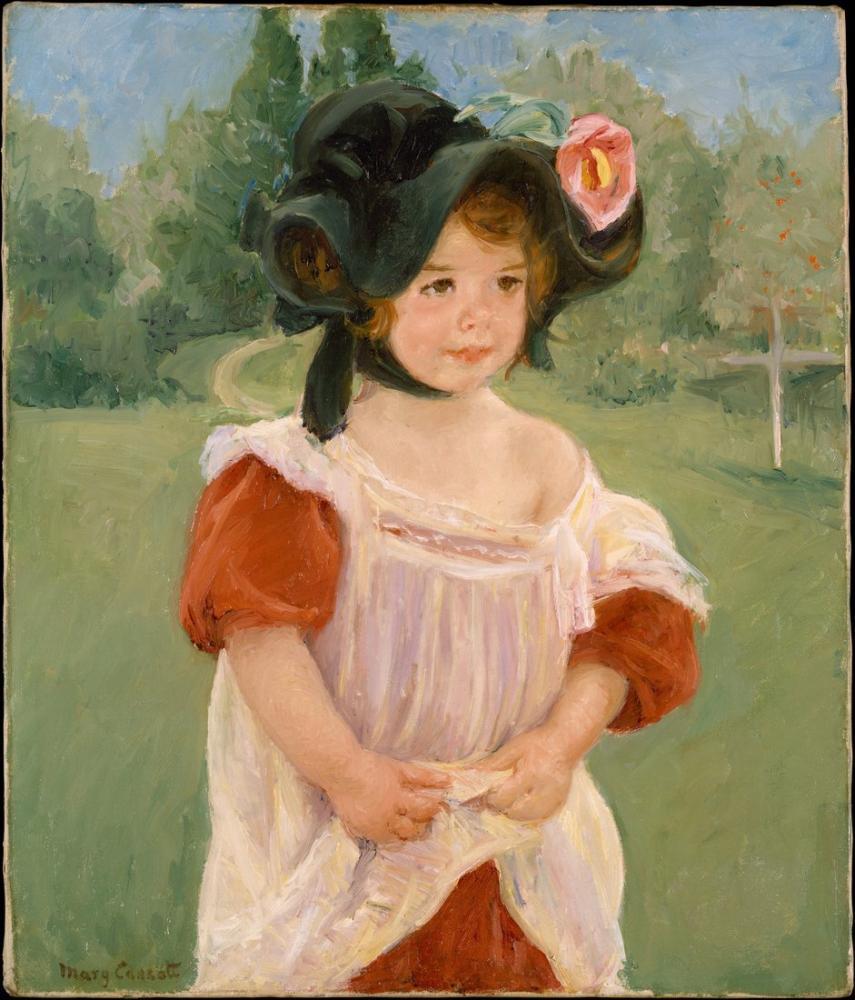 Mary Cassatt, Bahar Margot Bir Bahçede Küçük Kız Ayakta, Kanvas Tablo, Mary Cassatt, kanvas tablo, canvas print sales