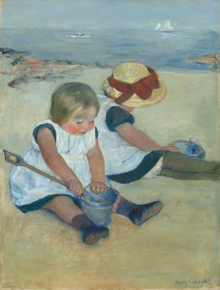 Mary Cassatt, Kumsalda Oynayan Çocuklar, Kanvas Tablo, Mary Cassatt, kanvas tablo, canvas print sales
