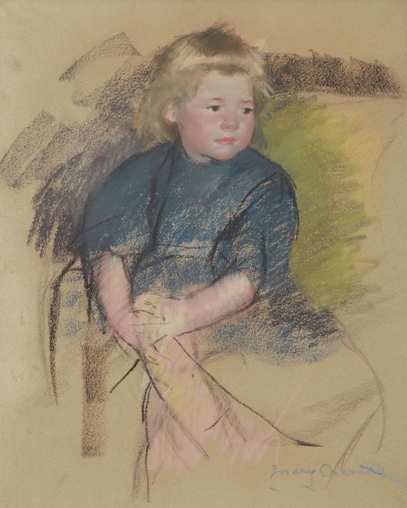 Mary Cassatt, Sara in a Dark Blue Dress, Canvas, Mary Cassatt, kanvas tablo, canvas print sales