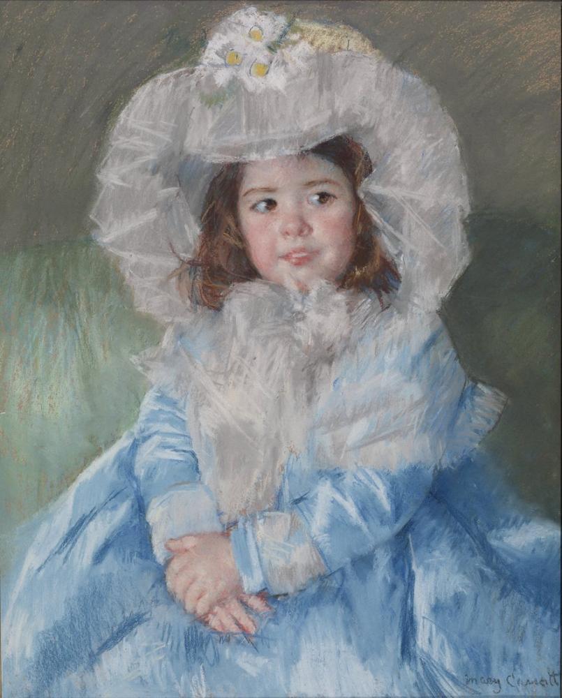Mary Cassatt, Blue Walters İçinde Margot Lefebvre, Kanvas Tablo, Mary Cassatt, kanvas tablo, canvas print sales
