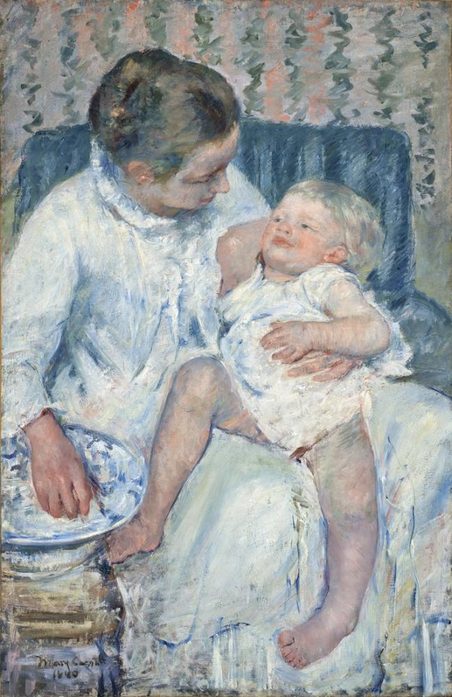 Mary Cassatt, Annesi Uykulu Çocuğunu Yıkamak Üzere, Kanvas Tablo, Mary Cassatt, kanvas tablo, canvas print sales