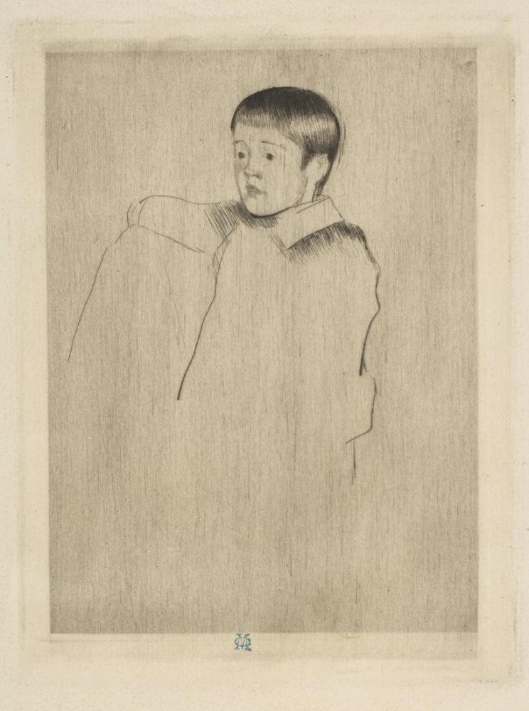 Mary Cassatt, Robert Oturmuş Sol Tarafa Bakıyor, Kanvas Tablo, Mary Cassatt, kanvas tablo, canvas print sales