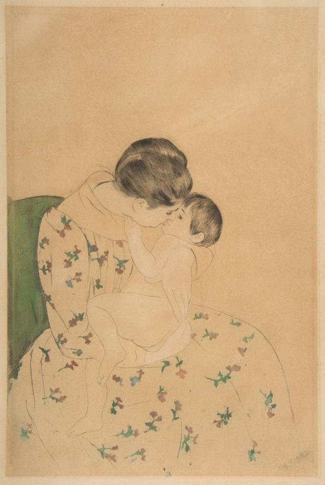 Mary Cassatt, Annenin Öpücüğü, Kanvas Tablo, Mary Cassatt, kanvas tablo, canvas print sales