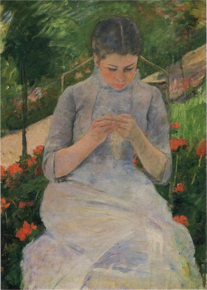 Mary Cassatt, Young Woman Sewing in Garden, Canvas, Mary Cassatt, kanvas tablo, canvas print sales