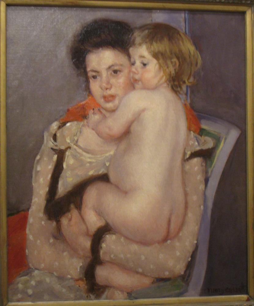 Mary Cassatt, Reine LeFebvre Holding a Nude Baby, Canvas, Mary Cassatt, kanvas tablo, canvas print sales
