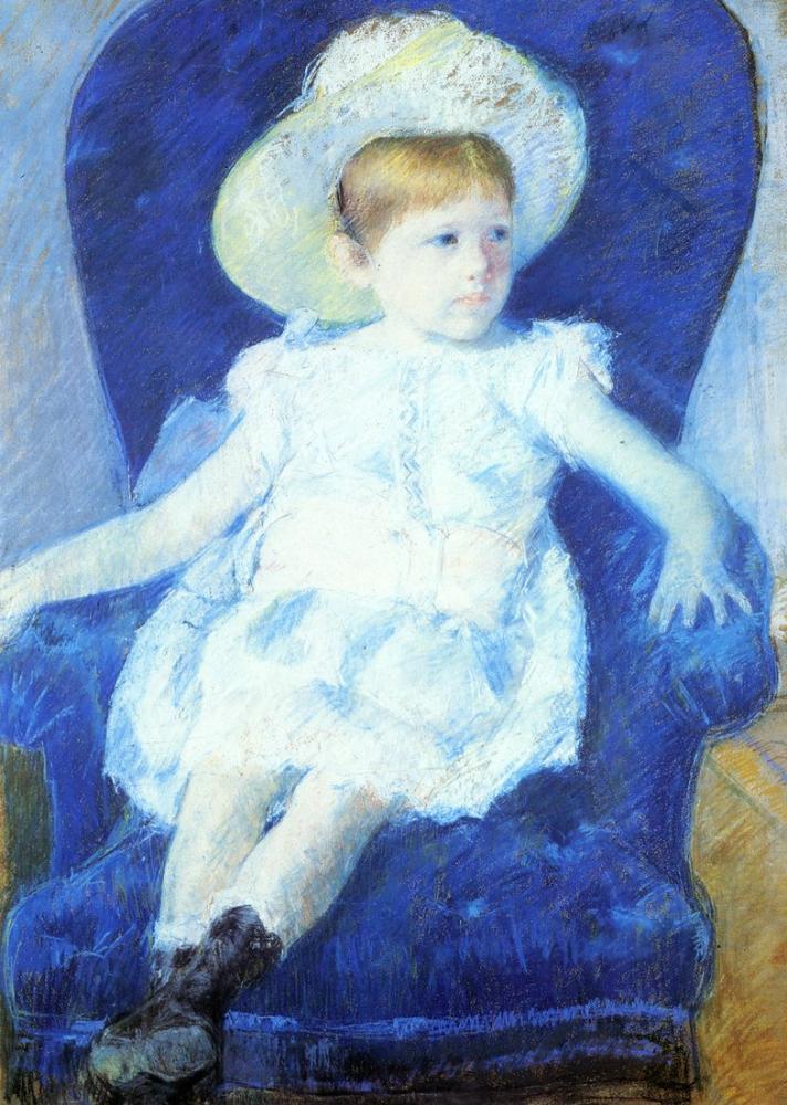 Mary Cassatt, Mary Elsie in a Blue Chair, Canvas, Mary Cassatt, kanvas tablo, canvas print sales