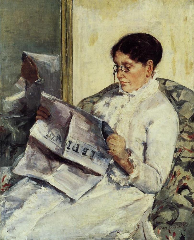 Mary Cassatt, Le Figaro Okuma, Kanvas Tablo, Mary Cassatt, kanvas tablo, canvas print sales
