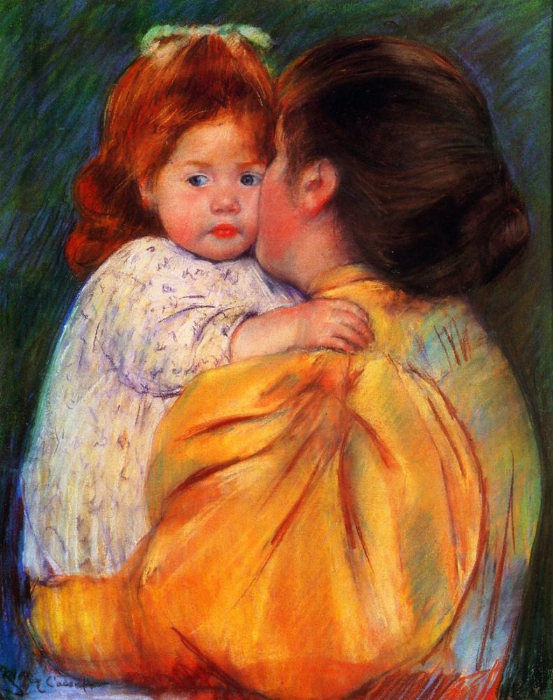 Mary Cassatt, Mary Anne Öpücüğü, Kanvas Tablo, Mary Cassatt, kanvas tablo, canvas print sales
