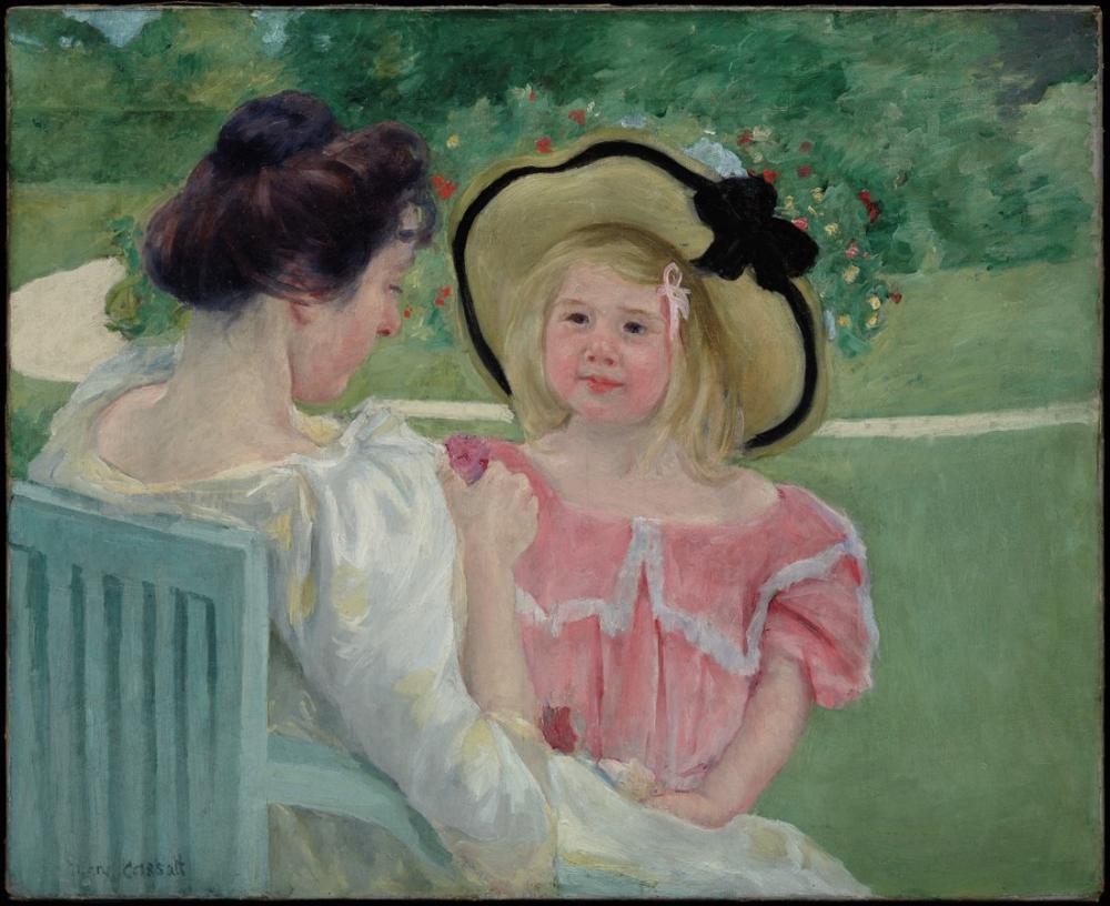 Mary Cassatt, Bahçede, Kanvas Tablo, Mary Cassatt, kanvas tablo, canvas print sales