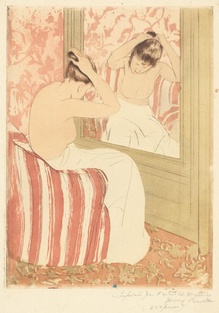 Mary Cassatt, Saç Modeli II, Kanvas Tablo, Mary Cassatt, kanvas tablo, canvas print sales