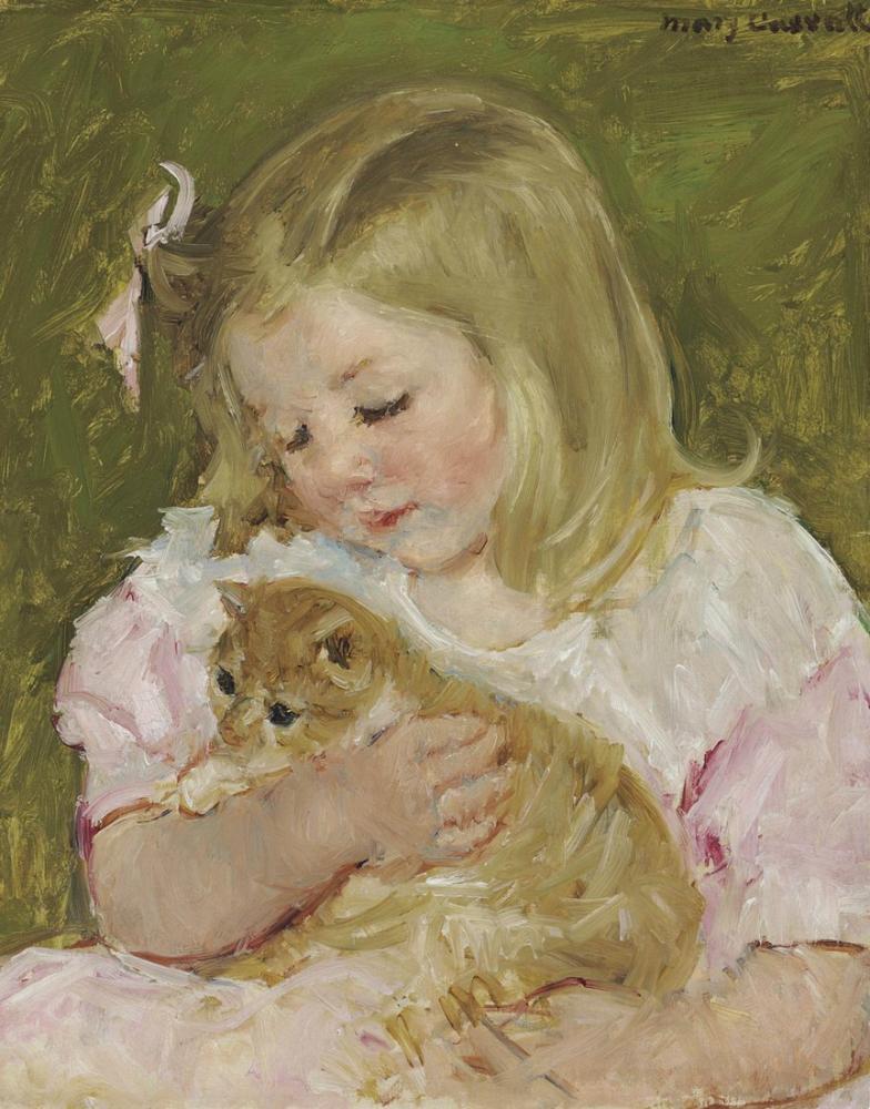 Mary Cassatt, Bir Kedi Tutan Sara, Kanvas Tablo, Mary Cassatt, kanvas tablo, canvas print sales
