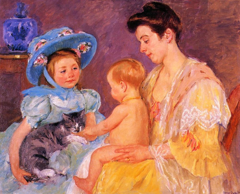 Mary Cassatt, Mary Bir Kedi ile Oynayan Çocuklar, Kanvas Tablo, Mary Cassatt, kanvas tablo, canvas print sales