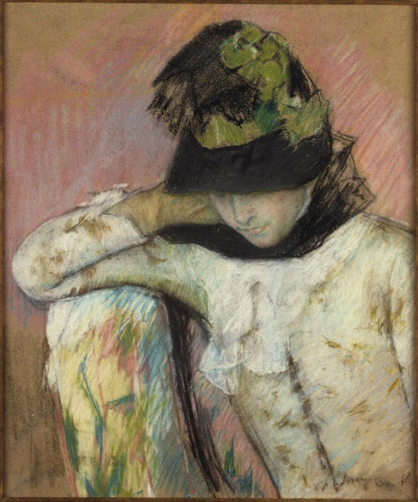 Mary Cassatt, Young Woman in a Black and Green Bonnet Looking Down, Canvas, Mary Cassatt, kanvas tablo, canvas print sales