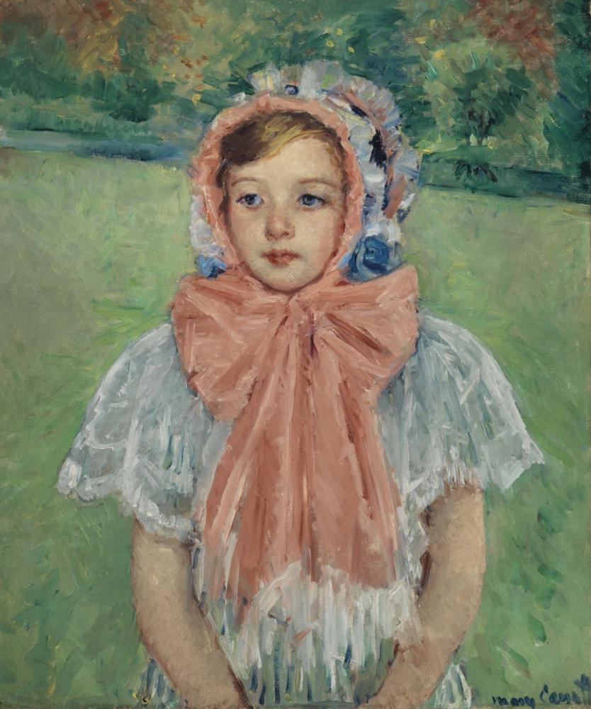 Mary Cassatt, Başlıklı Kız Büyük Pembe Bir Fiyonk ile Bağlı, Kanvas Tablo, Mary Cassatt, kanvas tablo, canvas print sales