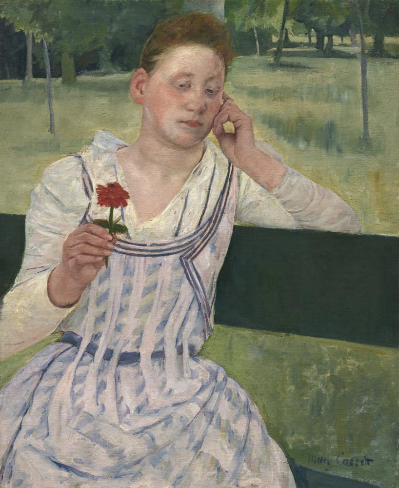 Mary Cassatt, Kırmızı Zinnia ile Kadın, Kanvas Tablo, Mary Cassatt, kanvas tablo, canvas print sales