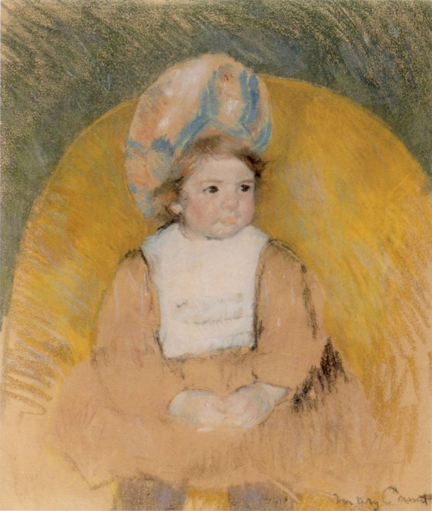 Mary Cassatt, Sarı Koltukta Oturan Genç Kız, Kanvas Tablo, Mary Cassatt, kanvas tablo, canvas print sales