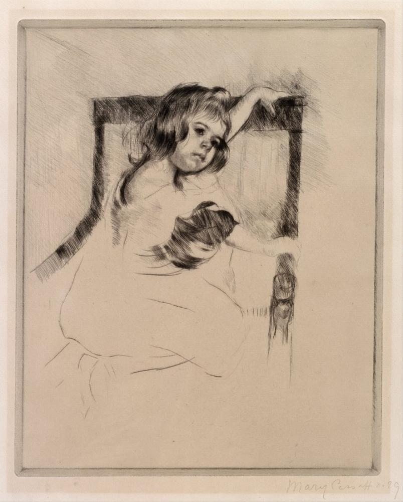 Mary Cassatt, Kneeling in an Armchair, Canvas, Mary Cassatt, kanvas tablo, canvas print sales