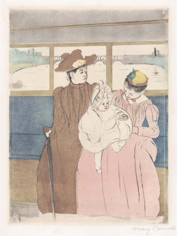 Mary Cassatt, Köprüyü Geçen Bir Tramvayın İçi, Kanvas Tablo, Mary Cassatt, kanvas tablo, canvas print sales