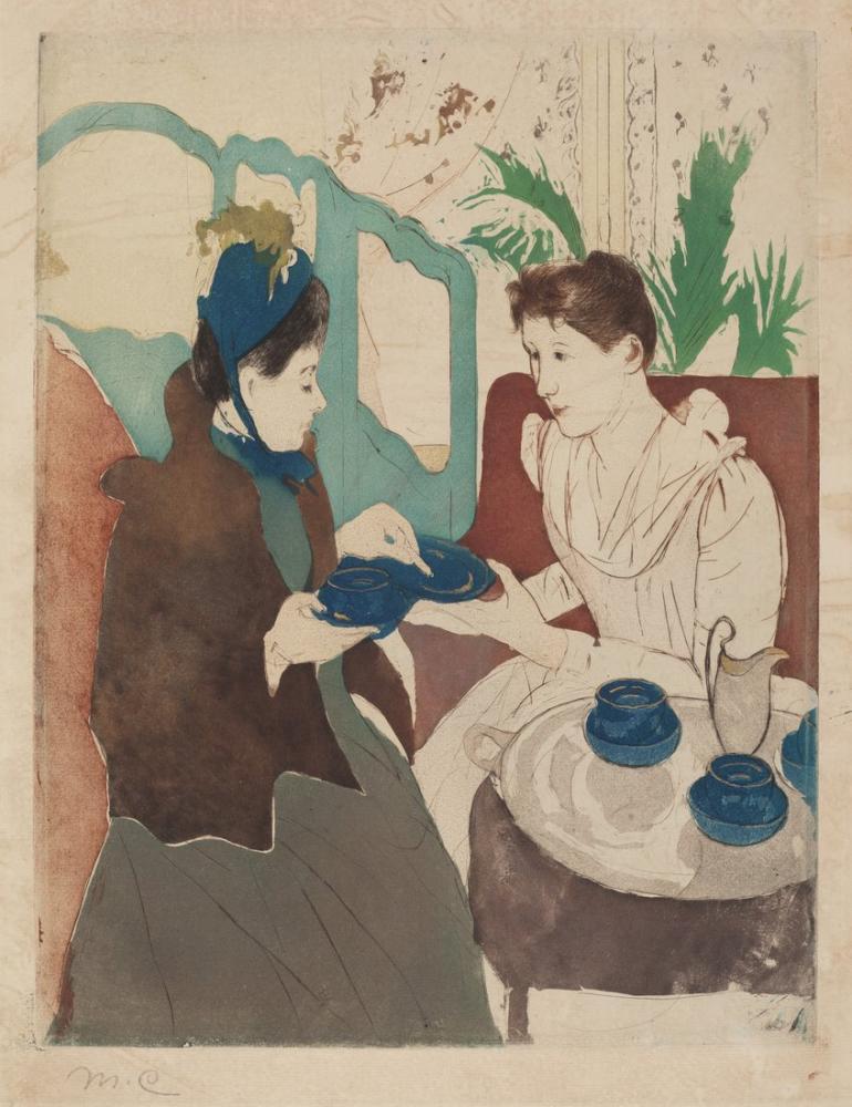 Mary Cassatt, Afternoon Tea Party, Canvas, Mary Cassatt, kanvas tablo, canvas print sales
