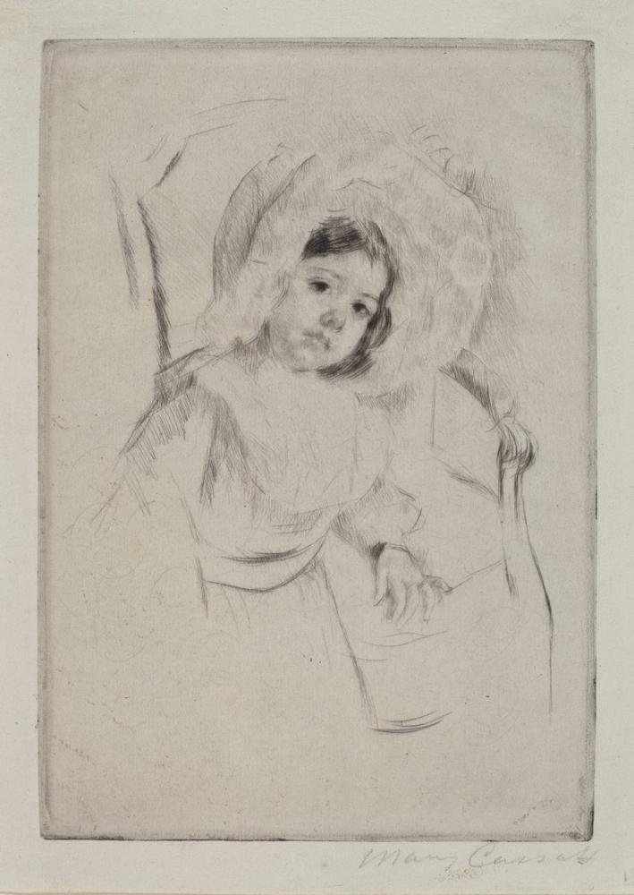 Mary Cassatt, Bir Sandalyeye Yaslanmış, Sarkık Bir Şapka Takmış, Kanvas Tablo, Mary Cassatt, kanvas tablo, canvas print sales