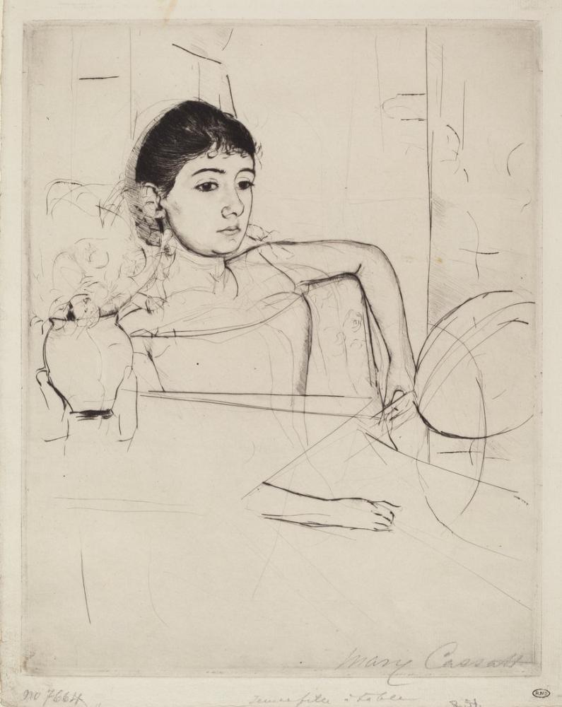 Mary Cassatt, Mimi as a Brunette, Canvas, Mary Cassatt, kanvas tablo, canvas print sales