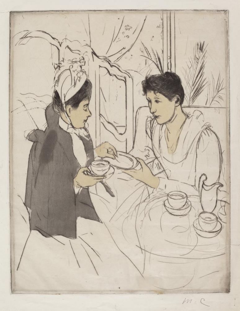 Mary Cassatt, Afternoon Tea Party Skecth, Canvas, Mary Cassatt, kanvas tablo, canvas print sales